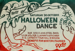 Flyer for benefit dance for gay theatre group Brixton Fairies, 1982