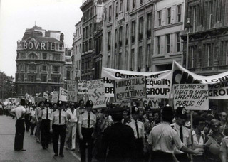 Photo of the first gay pride march through London, 1972.